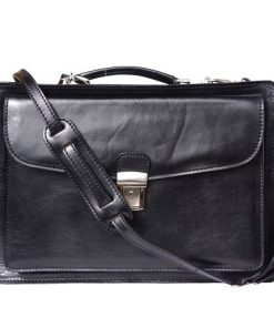 Genuine leather briefcase business bag Oreste colour black for men