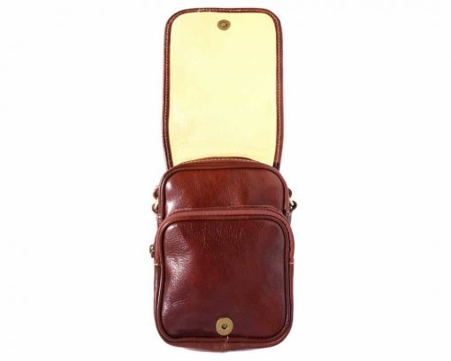 brown cross body bag in genuine leather Ecaterina for woman