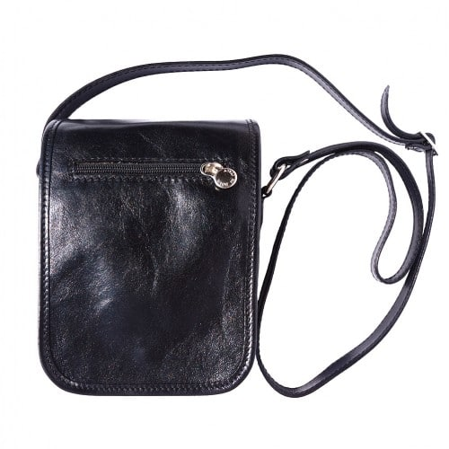 Shoulder bag in genuine leather with long strap Ivano Colour black for women