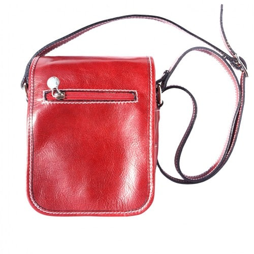Shoulder bag in genuine leather with long strap Ivano Colour light red for women