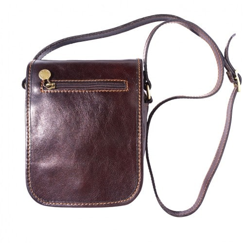Shoulder bag in genuine leather with long strap Ivano Colour Dark Brown for men