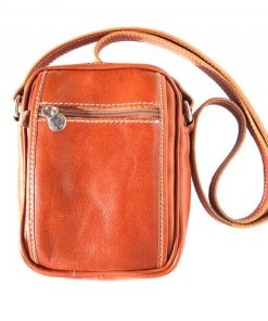Small cross body bag in genuine leather Leopoldo Colour tan for men