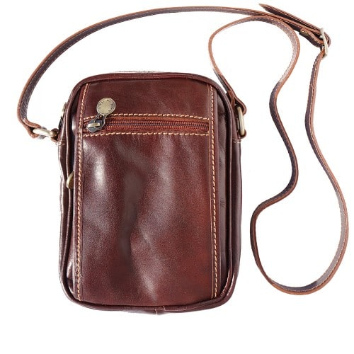 Small cross body bag in genuine leather Leopoldo Colour Brown for women