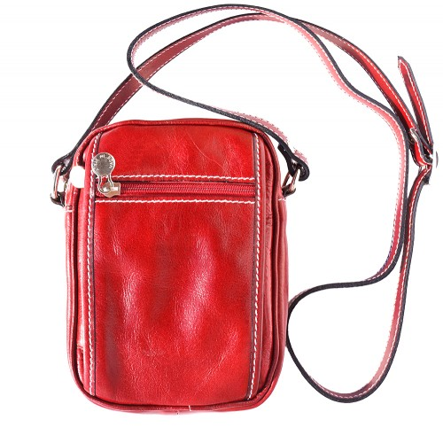 Small cross body bag in genuine leather Leopoldo Colour light red for men
