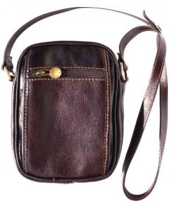 Small cross body bag in genuine leather Leopoldo Colour dark brown for men