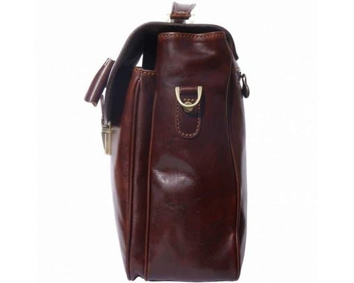dark brown briefcase in real leather Trandafira mans