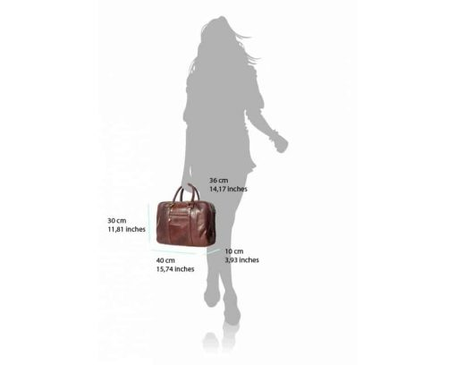 brown business bag in natural leather Claudia from italy woman