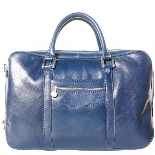 High quality genuine leather briefcase Orazio for documents and work Colour dark blue for women
