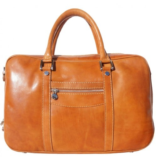 High quality genuine leather briefcase Orazio for documents and work Colour tan for men