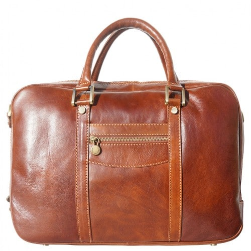 High quality genuine leather briefcase Orazio for documents and work Colour brown for men