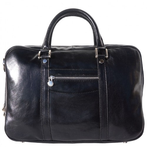 High quality genuine leather briefcase Orazio for documents and work Colour black for women