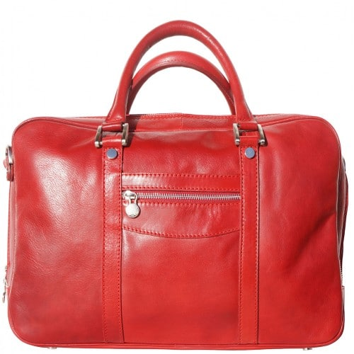 High quality genuine leather briefcase Orazio for documents and work Colour Light red for men