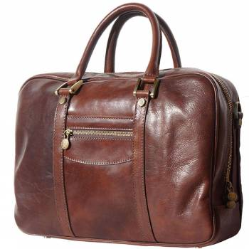 brown business bag in natural leather Claudia women