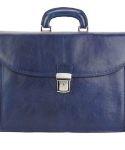dark blue business briefcase in genuine leather Norberto man