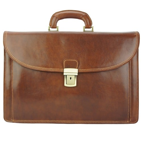 brown business briefcase in genuine leather Norberto men