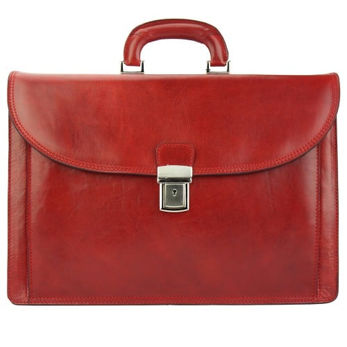 red briefcase in genuine leather Norberto mans