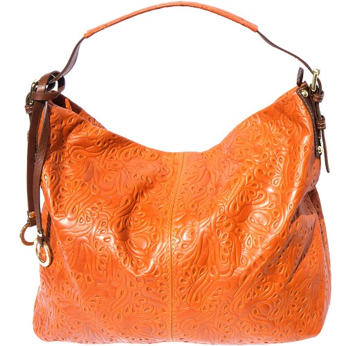 shoulder bag sunna in printed genuine leather colour tan brown for women