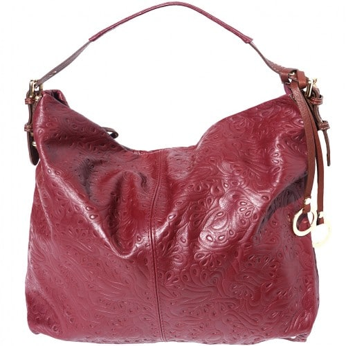 shoulder bag sunna in printed genuine leather colour bordeaux brown for women
