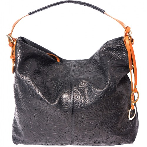 shoulder bag sunna in printed genuine leather colour black tan for women