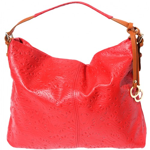 shoulder bag sunna in printed genuine leather colour red tan for women