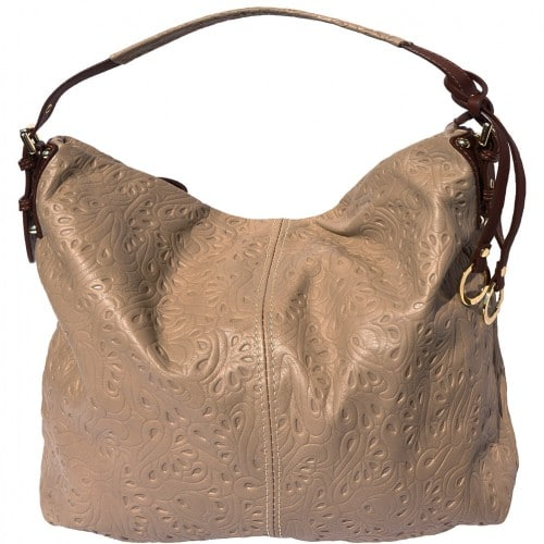 shoulder bag sunna in printed genuine leather colour dark taupe brown for women