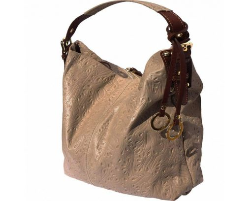 light taupe bag in printed natural soft leather Maalot for woman