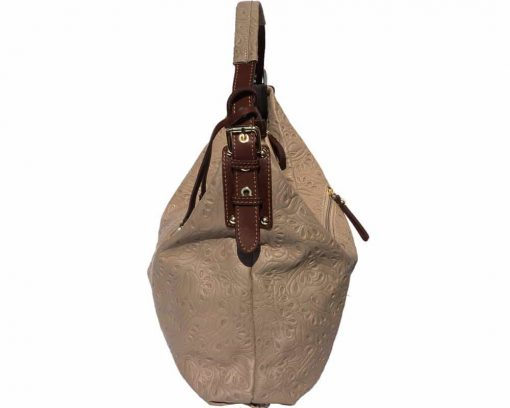 light taupe bag in printed natural leather Maalot for women