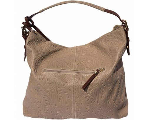 light taupe bag in printed leather Maalot for women