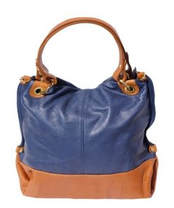 Handbag Dolores in genuine leather colour dark blue tan photo for women