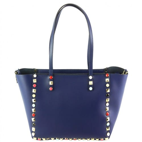 dark blue handbag Alvina with color rivets womans
