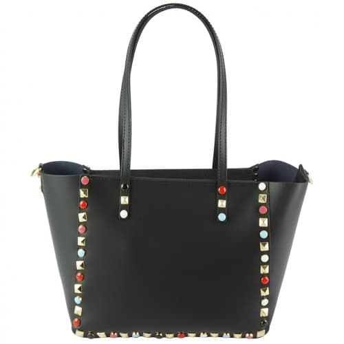 black handbag Alvina with color rivets woman