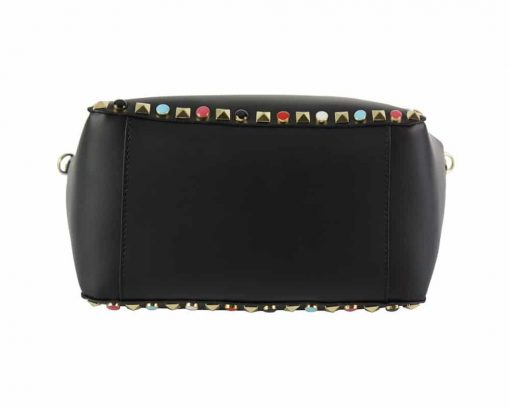 black bag with color rivets expensive pebbles in leather Morana woman
