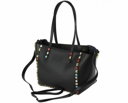 black bag with color rivets expensive pebbles Morana woman
