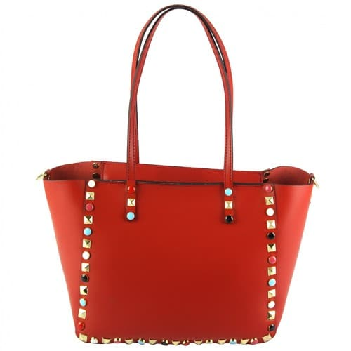 light red handbag Alvina with color rivets for woman