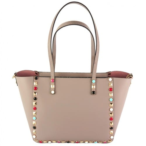 pink handbag Alvina with color rivets woman