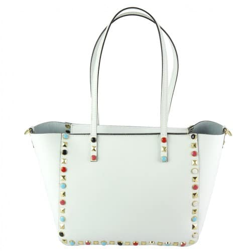 white handbag Alvina with color rivets womans