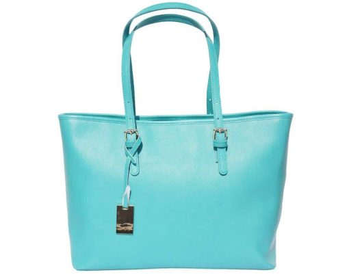 turquoise handbag for woman in saffiano natural leather
