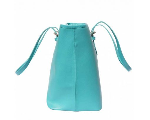 turquoise bag for woman in saffiano leather from italy