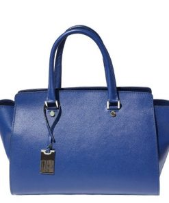 Saffiano genuine leather handbag Genziana Colour electric blue for women