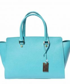 turquoise bag in soffiano natural leather from italy