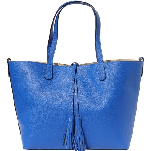 Shopping bag in genuine leather Franca colour electric blue for women
