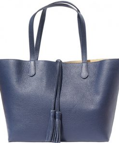 Shopping bag in genuine leather Franca colour dark blue for women