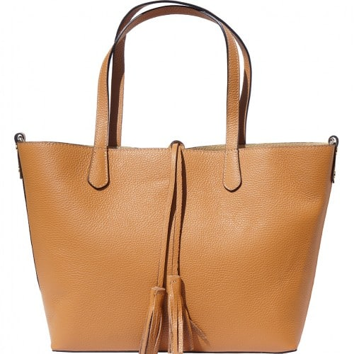 Shopping bag in genuine leather Franca colour tan for women