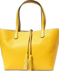 Shopping bag in genuine leather Franca colour yellow for women