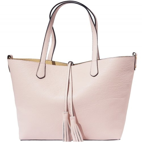 Shopping bag in genuine leather Franca colour pink for women
