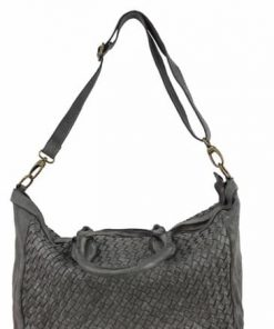 dark grey bag in woven real leather Ariella for women