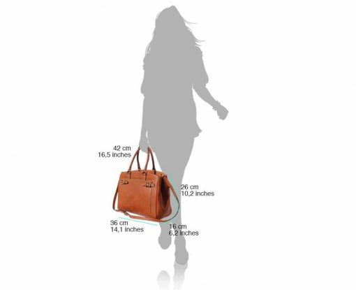 black handbag in real leather with genuine leather lining Corina for women