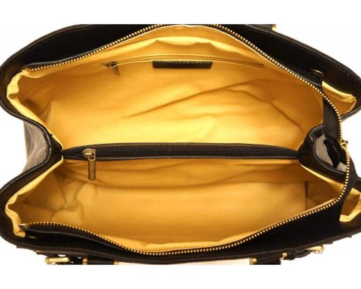 black handbag in natural leather with genuine leather lining Corina women