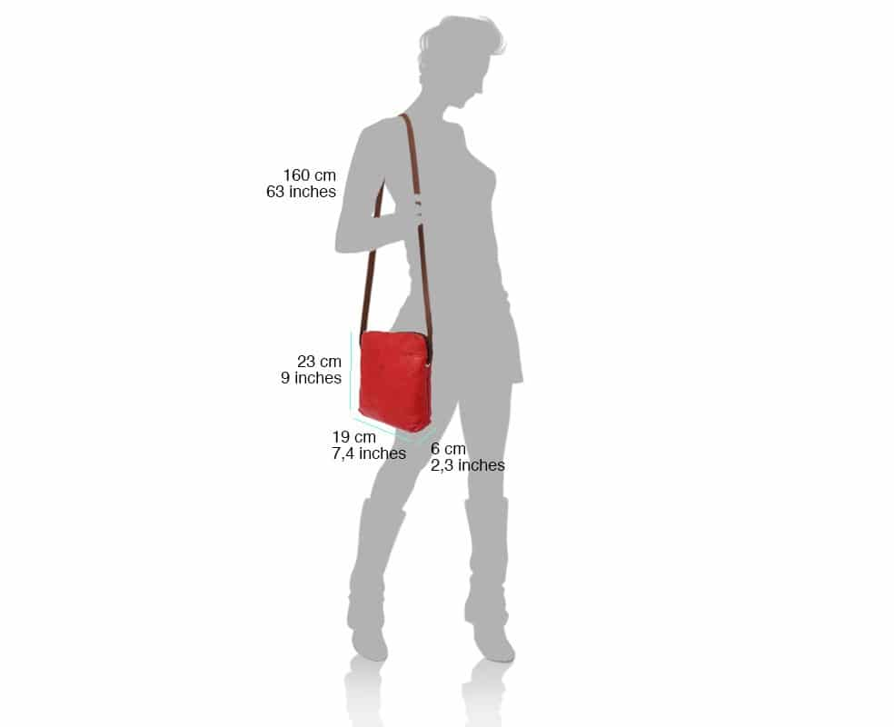 red cross body bag in real  leather Romanita for woman