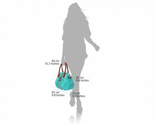 turquoise tan bag in natural leather Consuelo for women